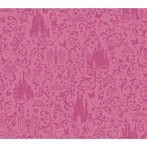 York Wallcoverings Ds7612 Walt Disney Kids Ii Small Scroll With Castles Wallpaper, Dark Pink/Light Pink front-806528