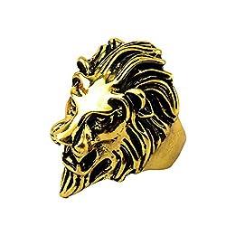 Sorella'z Vintage Gold Lion's Head Ring for Men's