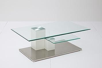 Couchtisch, Beistelltisch, Wohnzimmertisch, Glasplatte und Ablage, L= 110 cm