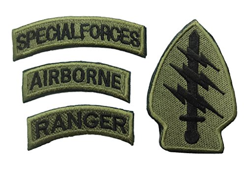 YANHU US Army-Special Forces Airborne Ranger Embroidered Military Velcro Patch - Olive Drab (4 patches) (Military Ranger Patch compare prices)