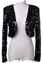 Vijiv Women's 1920s Style Dresses Sequins Disco Bolero Shrug Top