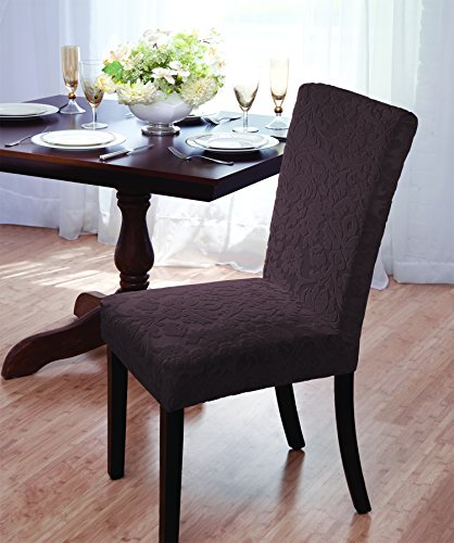 Luxurious Velvet Damask Dining Chair Cover, Beige, Burgundy, Brown, Green (Chocolate) (Chocolate Brown Chair compare prices)