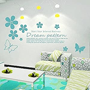 Great Value Wall Decor All-matching Removable Wallpaper Wall Stickers with Flower World Pattern Large Size Blue from Mzamzi