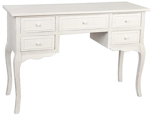 4H0014W Clayre & Eef - Tavolo di legno con cassetti - Bianco ca. 117 x 45 x 79,5 cm