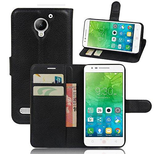 MYLB Portafoglio in pelle PREMIUM PU con Card Slot di caso di stile del libro Cover per Lenovo VIBE C2 smartphone (Nero)