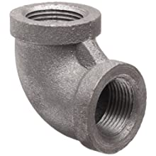 Anvil Malleable Iron Pipe Fitting, Class 150, 90 Degree Elbow, NPT Female, Black Finish