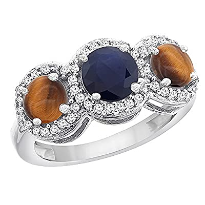 10K White Gold Natural High Quality Blue Sapphire & Tiger Eye Sides Round 3-stone Ring Diamond Accents, sizes 5 - 10