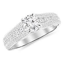buy 1.7 Carat Gorgeous Channel And Pave Set Graduating Round Designer Diamond Engagement Ring 14K White Gold With A 1 Carat J-K Si1-Si2 Round Brilliant Cut/Shape Center