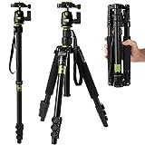 [Rangers]デジタルカメラ 一眼レフカメラ Canon Nikon Petax Sonyなど用  ポータブルなマグネシウム アルミ合金  4段 三脚・一脚可変式&ボールヘッド 雲台 ブライトシアン RA011