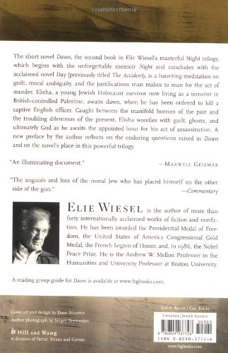 the story of israeli freedom fighters in elie wiesels book titled dawn The survivor: on magneto, mutants, and the you could just as easily call them freedom fighters he is elie wiesel standing up for the victims of darfur and.