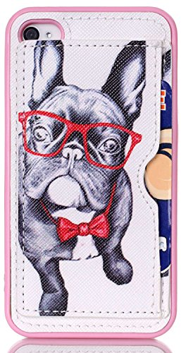 iPhone 4 cover, iPhone 4S Case AIYZE Pink TPU Back Protective Cell Phone Cases + Stand + Credit Card Slots Holder Premium PU Leather Multi-functional (Glasses Dog) (Cool Iphone 4s Back Glass compare prices)