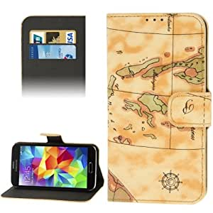 World Map Pattern Flip Leather Case with Holder & Credit Card Slots for Samsung Galaxy S5 G900, Random Delivery in Yellow
