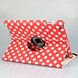 Red and White Polka Dot Pattern PU Leather Case For iPad 3 (the New iPad 3rd Generation) / iPad 2 With 360 Degrees Rotating Stand, Supports Auto Sleep/Wake
