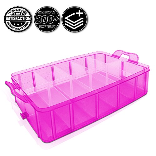 Tiny Toy Box Shopkins Storage Case Organizer Container Single Layer Tray Stackable Sparkle Collector's Carrying Tote Compatible W/ Happy Places Mini Toys Fashems Tsum Tsum Lego Hot Wheels (Pink Spark) (Marble Run Fridge compare prices)