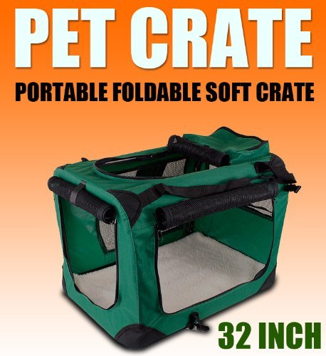 New Large Dog Pet Puppy Portable Foldable Soft Crate Playpen Kennel House - Green front-776810