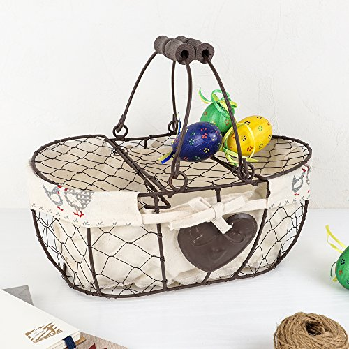 Chicken Wire Egg Basket With Lid and Handle - Perfect For Collecting Eggs at Easter - W30 x H13 x D 21cm by Dibor - French Style Accessories for the Home (French Wire Egg Basket compare prices)