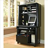 Home Style 5181-190 Arts and Crafts Compact Office Cabinet with Hutch, Black Finish