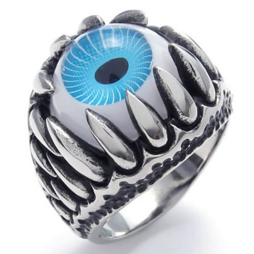 Konov Jewelry Stainless Steel Gothic Dragon Claw Devil Eye Biker Men'S Ring, Blue Silver - Size 10