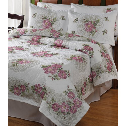 Bucilla Roses and Lace Fan Quilt Stamped Cross Stitch