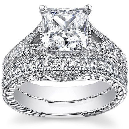 2.25Ct Princess Cut Natural Genuine Diamond Engagement Ring and Band Set On 14K White Gold 0.75+ Center stone E - F / VS2 - Si1 Certified