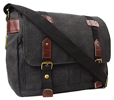 Mens Womens Boys Girls Chervi Canvas School College Work Satchel Messenger Shoulder Bag (Black/Green)