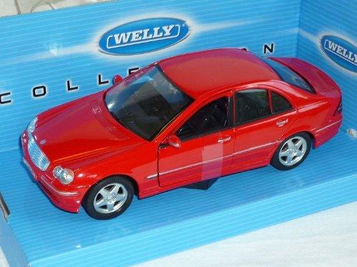 mercedes-benz-c-klasse-w203-limousine-rot-2000-2007-1-24-welly-modellauto-modell-auto