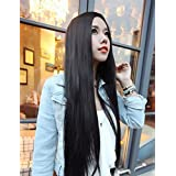 Superwigy 80CM Anime Young Long Straight Synthetic Hair Wig No Bangs Natural Black Soft Wigs for Women