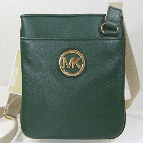 Michael Kors Fulton Gold Logo Leather Crossbody Bag Malachite Dark Green back-404835