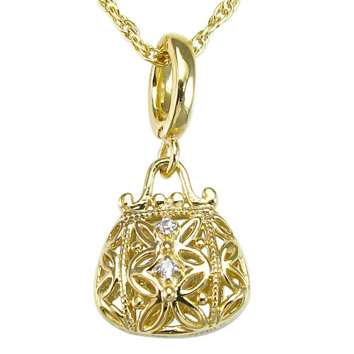 10k Gold Plated Sterling Silver Cubic Zirconia Handbag Pendant Necklace, 18