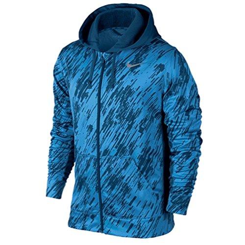 Nike Mens Therma Fit Digital Rain KO Full Zip Hoodie Sweatshirt Blue Black XL (Nike Ko Full Zip Hoodie compare prices)