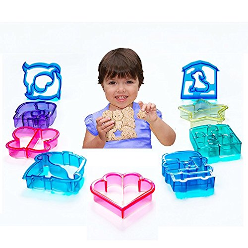 SASRL Sandwich and bread Cutter Shapes for Kids - Set of 9 Crust & Cookie Cutters - Dinosaurs, elephants, butterflies, five-pointed star, puppy ,quadrilateral, puzzles, car, love