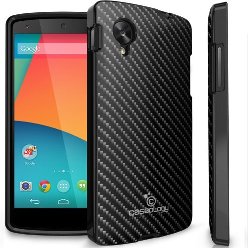 Caseology Carbon Fiber Hybrid TPU Armor Case for Google Nexus 5 (Black)