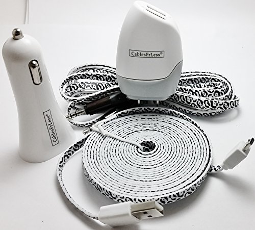 CablesFrLess 4 in 1 Leopard Print Tangle Free Noodle Style Micro USB and Auxiliary Accessory kit fits Android Samsung Galaxy S3 S4 Reverb Note Google Nexus HTC One Kindle Fire HD Touch Acer LG Optimus Pantech Blackberry Motorola HTC Sony Ericsson and most other micro USB devices (10ft White)
