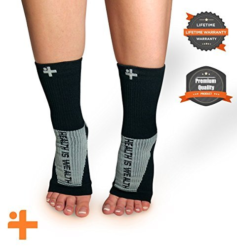 -Fast Relief from Plantar Fasciitis | Swelling | Foot Pain & Promotes Blood Circulation | Open Toed Compression Sleeve Sock Health Is Wealth (Black, Medium)