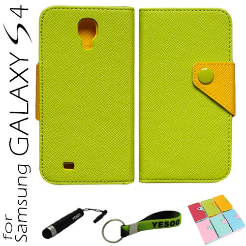 Yesoo (Green) Fancy Dual Color High Quality Pu Leather Wallet Case With Magnetic Flap Closure For Samsung Galaxy S4 Iv S 4 I9500, Elegant Colorful Interior Including Credit Cards Holder & Pockets To Keep Bank Cards, Driver License, Id Cases Come With Alum