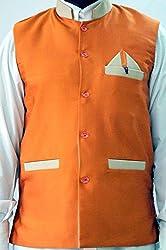 Nuvo Rise Export Men's Nehru Jacket_123468_Orange_M