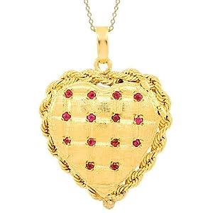 Click to buy 14K Yellow Gold Women's Ruby Heart Locket from Amazon!