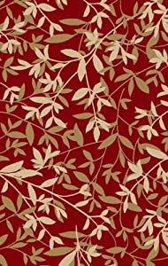 "Concord Global Norah Bamboo Leaves Red 6'7"" x 9'3"" Rug (0220)"