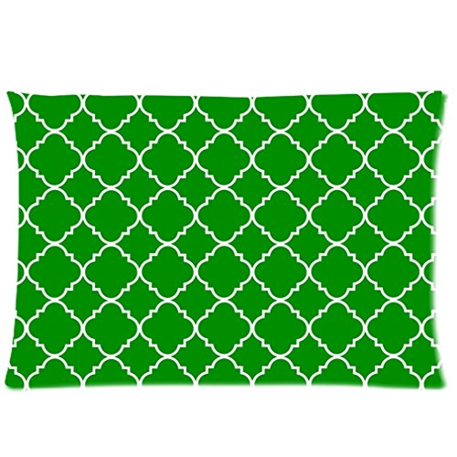 Cool Quatrefoil Simple Green And White Classic Reticular Custom Zippered Pillow Cases 16X24 (Two Sides) front-919303