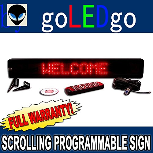 "Goledgo Ultra Red Programmable Scrolling Led Message Sign (Size: 4""H X 26""L X 1""D)"