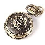 Yesurprise Antique Bronze Tone Rose Quartz Pocket Pendant Chain Watch Necklace 2.5cm