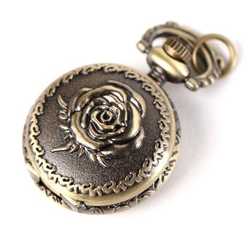 Yesurprise Antique Bronze Tone Rose Quartz Pocket Pendant Chain Watch Necklace 2.5cm