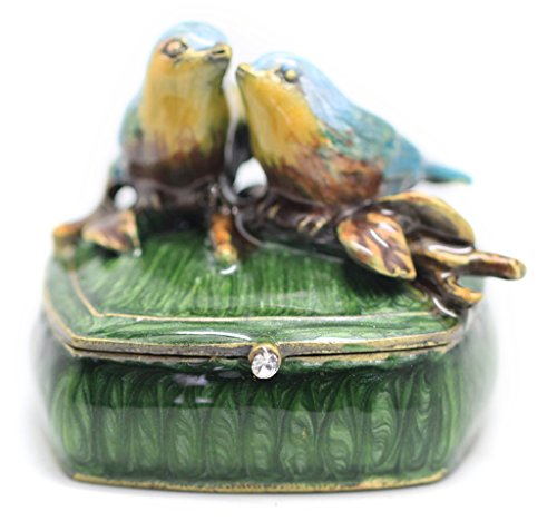 NIKKY HOME Vintage Style Love Birds Small Jewelry Trinket Box 2.1'' by 2.1'' by 1.8''