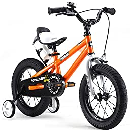 RoyalBaby BMX Freestyle Kids Bike, Boy\'s Bikes and Girl\'s Bikes with training wheels, Gifts for children, 12 inch wheels, Orange