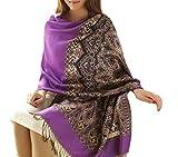 Mixeshop Womens National Wind Restoring Ancient Ways Jacquard Scarf purple
