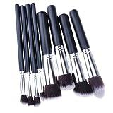 One Plus Professional Black Synthetic Kabuki Flat Foundation Brush Single Makeup Cosmetic Brush(Black&Silver) (8pcs, Black&Silver)