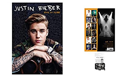 Set: Justin Bieber, Official Calendar 2017 (17x12 inches) And 1x Credit Card Holder Wallet For Fans Collectible (4x3 inches)