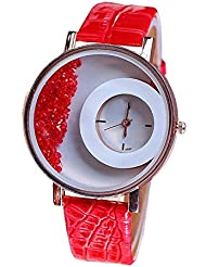 Color Creation Red Stylish Free Diamond Dial Fancy Leather Watch For Girls And Women