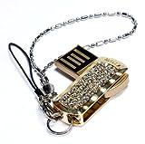 Axxen 4 GB USB Flash Drive with Swarovski Crystals, Crystal Gold