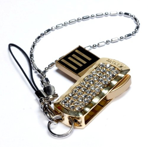 Axxen 4 GB USB Flash Drive with Swarovski Crystals, Crystal Gold